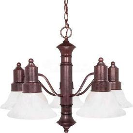 """Satco 60-191 Gotham 5 Light 25"""" Chandelier w/ Alabaster Glass Bell Shades  Old Bronze"""