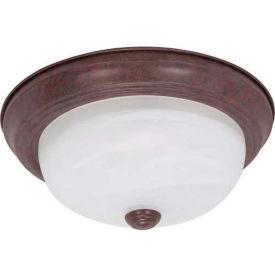 "Satco 60-205 2 Light - 11"" - Flush Mount - Alabaster Glass  Old Bronze"