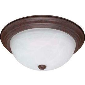 "Satco 60-207 3 Light - 15"" - Flush Mount - Alabaster Glass  Old Bronze"