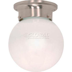 "Satco 60-245 1 Light - 6"" - Ceiling Mount - White Ball  Brushed Nickel"