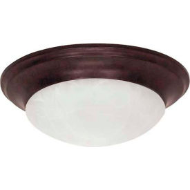 "Satco 60-280 1 Light - 12"" - Flush Mount - Twist & Lock w/ Alabaster Glass  Old Bronze"