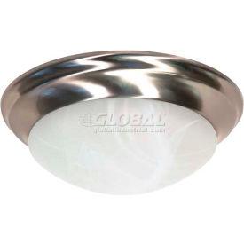 "Satco 60-284 2 Light - 14"" - Flush Mount - Twist & Lock w/ Alabaster Glass  Brushed Nickel"