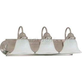 "Satco 60-321 Ballerina 3 Light - 24"" - Vanity w/ Alabaster Glass Bell Shades  Brushed Nickel"