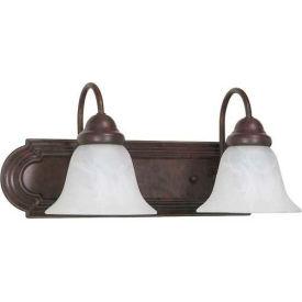"Satco 60-324 Ballerina 2 Light - 18"" - Vanity w/ Alabaster Glass Bell Shades  Old Bronze"