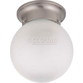 """Nuvo 60/3249, 1 Light-Ceiling-Mount, Frosted White, Brushed Nickel, 6""""W X 7.25""""H"""
