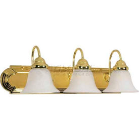 "Satco 60-329 Ballerina 3 Light - 24"" - Vanity w/ Alabaster Glass Bell Shades  Polished Brass"