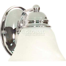 """Satco 60-336 Empire 1 Light - 7"""" - Vanity w/ Alabaster Glass Bell Shades  Polished Chrome"""
