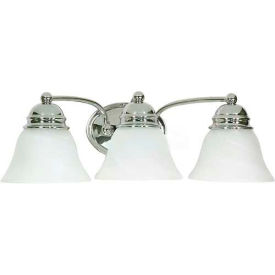 "Satco 60-338 Empire 3 Light - 21"" - Vanity w/ Alabaster Glass Bell Shades  Polished Chrome"