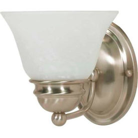 """Satco 60-340 Empire 1 Light - 7"""" - Vanity w/ Alabaster Glass Bell Shades  Brushed Nickel"""
