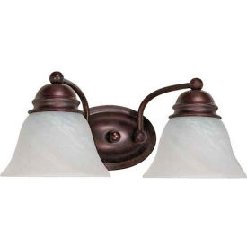 "Satco 60-345 Empire 2 Light - 15"" - Vanity w/ Alabaster Glass Bell Shades  Old Bronze"