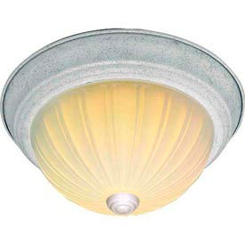 """Satco 76-125 2 Light - 11"""" - Flush Mount - Frosted Melon Glass  Textured White"""