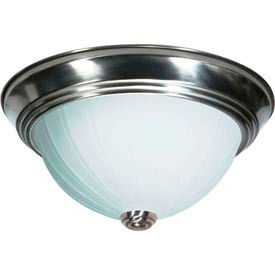 """Satco 76-243 2 Light - 11"""" - Flush Mount - Frosted Melon Glass  Brushed Nickel"""