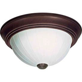"Satco 76-246 2 Light - 11"" - Flush Mount - Frosted Melon Glass  Old Bronze"