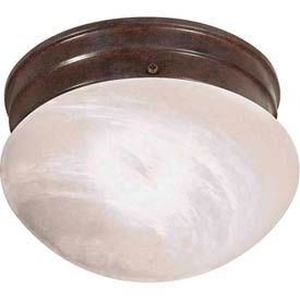 "Satco 76-670 1 Light - 8"" - Flush Mount - Small Alabaster Mushroom  Old Bronze"