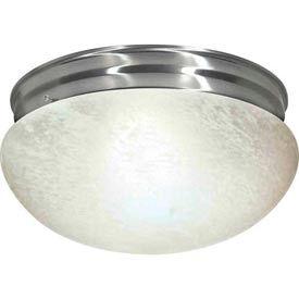 "Satco 76-677 2 Light - 12"" - Flush Mount - Large Alabaster Mushroom  Brushed Nickel"