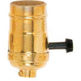 Satco 90-1672 3 Terminal (2 Circuit) Turn Knob Socket w/Removable Knob 1/8 IPS Polished Brass by