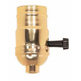 Satco 90-421 3 Terminal (2 Circuit) Turn Knob Socket 1/8 IPS Brite Gilt by