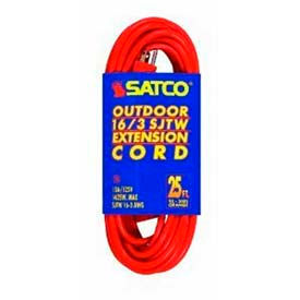 Satco 93-5006 #16/3 Ga. SJTW-3 Orange Outdoor Extension Cords - 50 Ft.