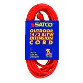 Satco 93-5008 #14/3 Ga. SJTW-3 Orange Outdoor Extension Cord - 25 Ft.