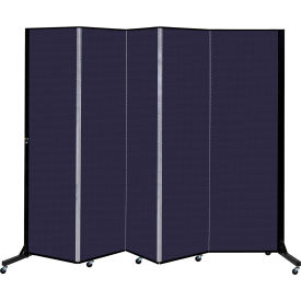 Screenflex 5 Panel Mobile Room Divider - Fabric Color: Navy