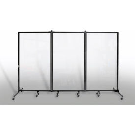 "Portable Acrylic Clear Panel Room Divider, 6'2""H x 10'L"