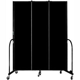 "Screenflex Portable Room Divider, Fire Resistant, 7'4""H x 5'9""L, Black"