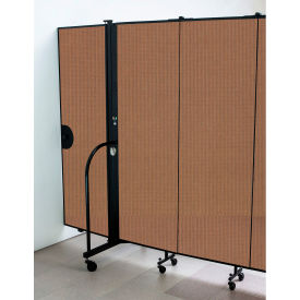 "Screenflex 7'4""H Door - Mounted to End of Room Divider - Walnut"