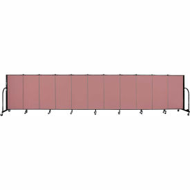 "Screenflex 11 Panel Portable Room Divider, 4'H x 20'5""L, Fabric Color: Rose"