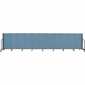 "Screenflex 11 Panel Portable Room Divider, 4'H x 20'5""L, Fabric Color: Summer Blue"