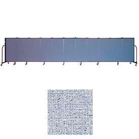 "Screenflex 11 Panel Portable Room Divider, 4'H x 20'5""L, Vinyl Color: Blue Tide"