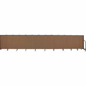 "Screenflex 13 Panel Portable Room Divider, 4'H x 24'1""L, Fabric Color: Walnut"