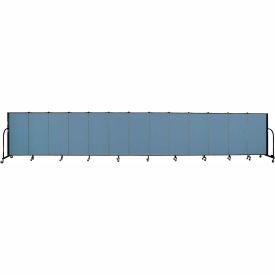 "Screenflex 13 Panel Portable Room Divider, 4'H x 24'1""L, Fabric Color: Summer Blue"