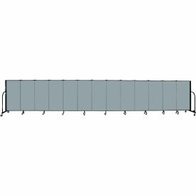 "Screenflex 13 Panel Portable Room Divider, 4'H x 24'1""L, Fabric Color: Grey Stone"