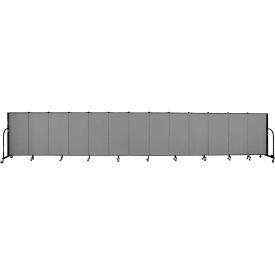 "Screenflex 13 Panel Portable Room Divider, 4'H x 24'1""L, Fabric Color: Grey"