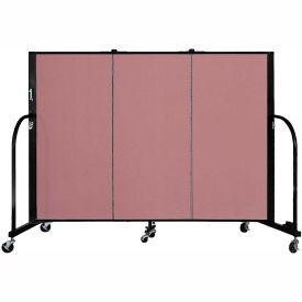 "Screenflex 3 Panel Portable Room Divider, 4'H x 5'9""L, Fabric Color: Rose"