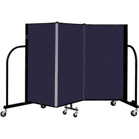 """Screenflex 3 Panel Portable Room Divider, 4' H x 5'9"""" L, Fabric Color: Navy"""