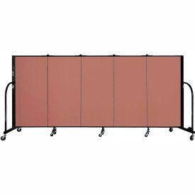 "Screenflex 5 Panel Portable Room Divider, 4'H x 9'5""L, Fabric Color: Cranberry"