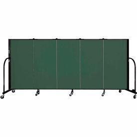 "Screenflex 5 Panel Portable Room Divider, 4'H x 9'5""L, Fabric Color: Green"