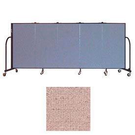 "Screenflex 5 Panel Portable Room Divider, 4'H x 9'5""L, Vinyl Color: Raspberry Mist"