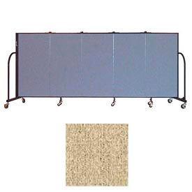 """Screenflex 5 Panel Portable Room Divider, 4'H x 9'5""""L, Vinyl Color: Sandalwood"""