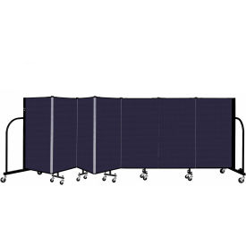 "Screenflex 7 Panel Portable Room Divider, 4' H x 13'1"" L, Fabric Color: Navy"