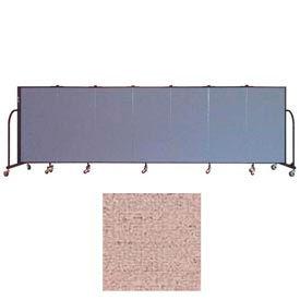 "Screenflex 7 Panel Portable Room Divider, 4'H x 13'1""L Vinyl Color: Raspberry Mist"