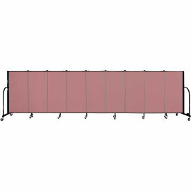 "Screenflex 9 Panel Portable Room Divider, 4'H x 16'9""L, Fabric Color: Rose"