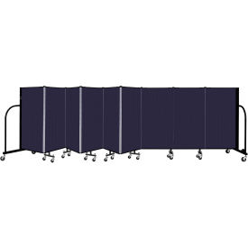 """Screenflex 9 Panel Portable Room Divider, 4' H x 16'9"""" L, Fabric Color: Navy"""