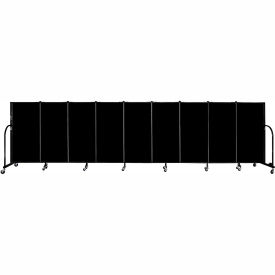 "Screenflex 9 Panel Portable Room Divider, 4'H x 16'9""L, Fabric Color: Charcoal Black"