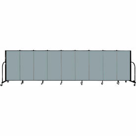 "Screenflex 9 Panel Portable Room Divider, 4'H x 16'9""L, Fabric Color: Grey Stone"