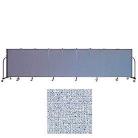 "Screenflex 9 Panel Portable Room Divider, 4'H x 16'9""L, Vinyl Color: Blue Tide"
