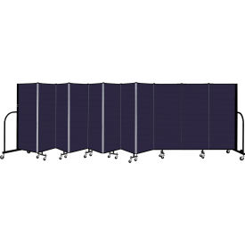 "Screenflex 11 Panel Portable Room Divider, 5' H x 20'5"" L, Fabric Color: Navy"