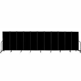 "Screenflex 11 Panel Portable Room Divider, 5'H x 20'5""L, Fabric Color: Charcoal Black"