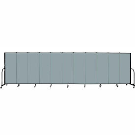 "Screenflex 11 Panel Portable Room Divider, 5'H x 20'5""L, Fabric Color: Grey Stone"